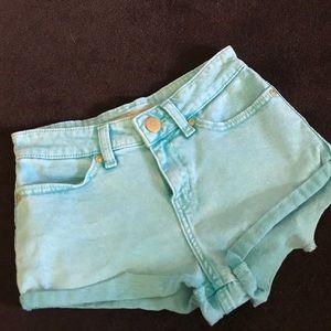 Light Blue Denim Topshop High-Waisted Shorts